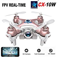 Cheerson CX 10W Holiday Gift Toy App Controlled FPV Camera Mini WiFi Quadcopter - Rose Gold