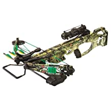 PSE FANG 350 XT Mossy Oak Country Crossbow Package Includes 4x32 Multi-Reticle Scope Five Bolt Quiver Three Carbon Bolts Cocking Rope Rail Lube
