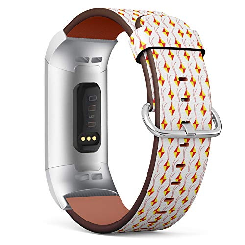 Compatible with Fitbit Charge 3 / Charge 3 SE - Leather Band Bracelet Strap Wristband Replacement with Adapters - Kites Modern Traditional Festival