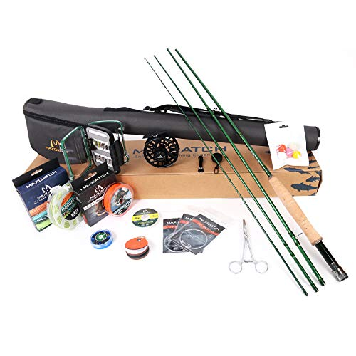 M MAXIMUMCATCH Maxcatch Premier Fly Fishing Rod and Reel Combo Complete 9' Fishing Outfit (5 wt -9' Half-Handle Rod,5/6 Reel)