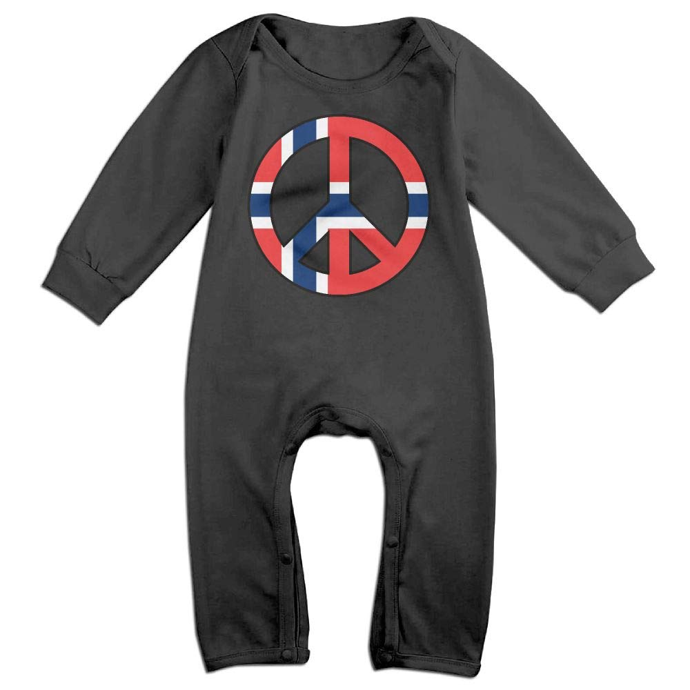 UGFGF-S3 Norway Flag Peace Long Sleeve Infant Baby Bodysuit for 6-24 Months Bodysuit