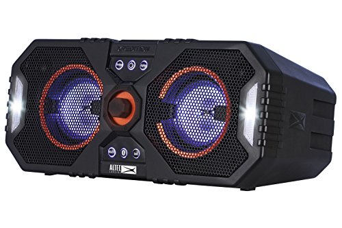 (Altec Lansing ALP-XP400 Xpedition 4 Everything Proof Portable Waterproof Bluetooth Indoor/Outdoor Speaker with Multi-Colored LED Light Show, Stereo Pairing, Dual 4