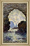 "The Rock Needle Seen through the Porte dAumont by Claude Monet - 17"" x 29"" Framed Premium Canvas Print"