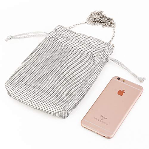 Metal Mesh Shoulder-Wallet-Evening-Handbags-Cluth Purses for Women Small Crossbody Bag Cell Phone Purse Wallet in Silver ...