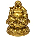 Feng Shui Brass Maitreya Laughing Buddha Sitting on Lotus Flower Statue Home Decorative Gift