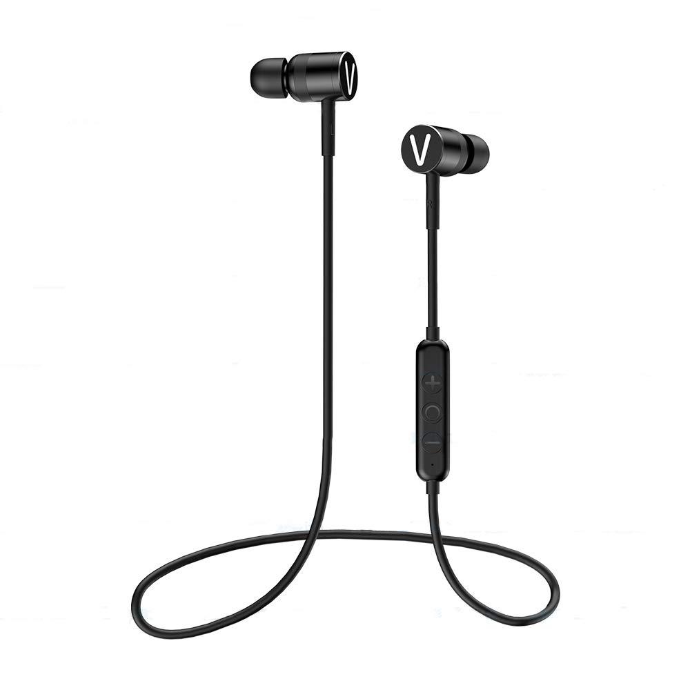 Bluetooth Headphones, VKUSRA Bluetooth 5.0 Wireless Sports Earphones 9 Hours Magnetic in-Ear Earbuds w Mic IPX4 CVC 6.0 Noise Cancelling Headsets