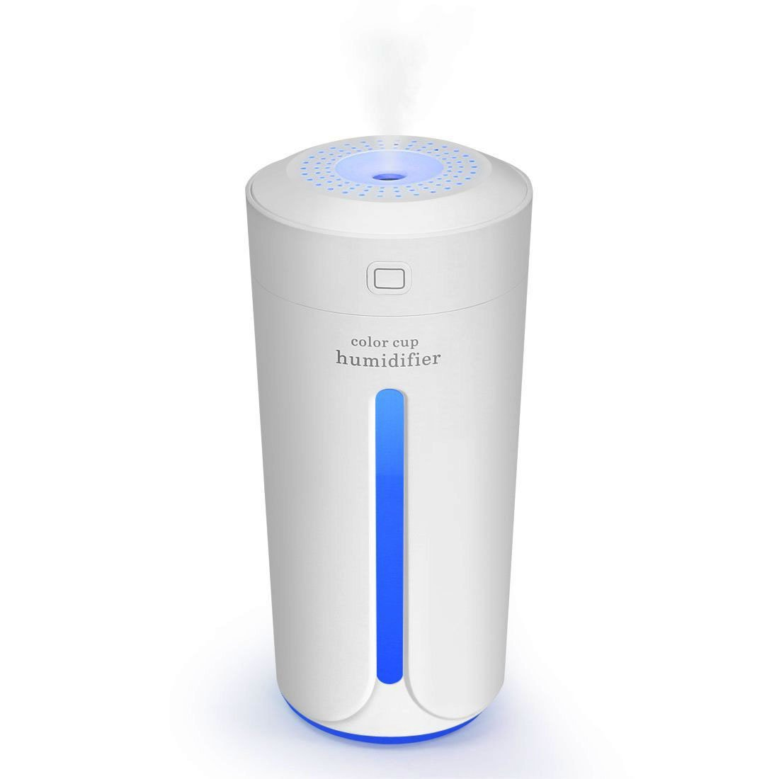 MJDUO Travel Humidifier Cup,Portable Mini Humidifier for Cars Office Desk Home Babies kids Bedroom. Air Humidifiers Purifier 7 Color LED Lights Ultrasonic USB No Noise(White)