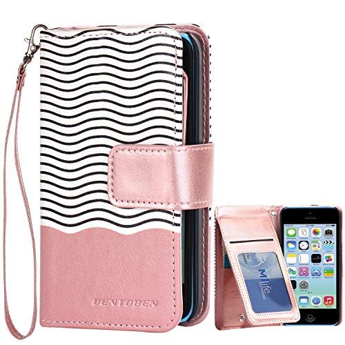 iPhone 5C Cases, 5C Wallet Case, BENTOBEN Secure Up and Down Flip Design Credit Card Slots Cash Holder