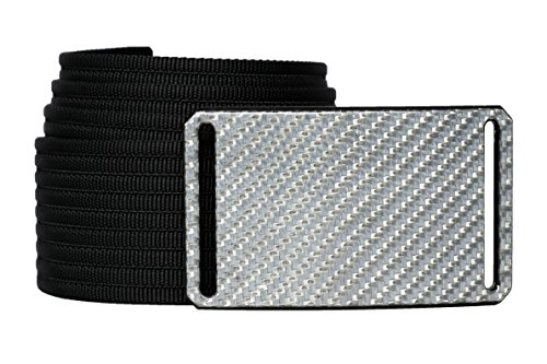 32 Inch Silverglass Carbon Fiber Men's Belt w/Black ()