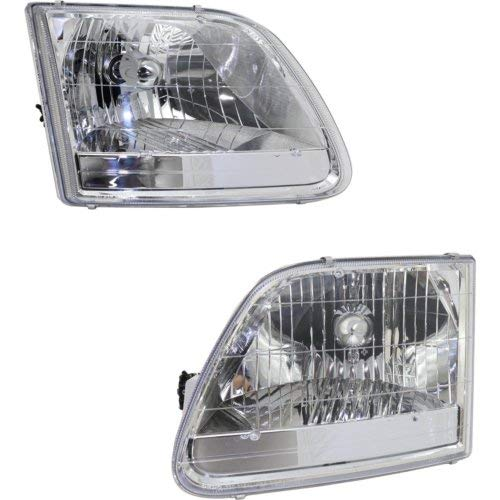 Head Lamp Set of 2 Compatible with FORD F-150 2001-2004 Right Side and Left Side Assembly XL/XLT/Lariat/H-Davison Models