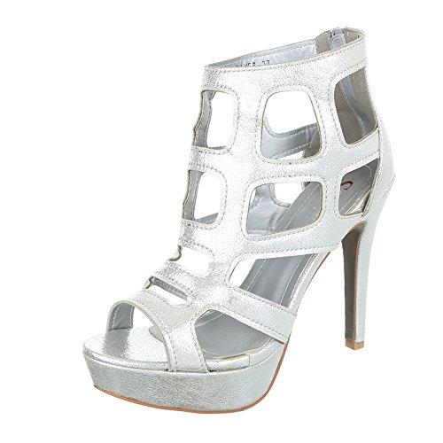 Ital Silber Compensées Femme Chaussures Design w1q16zpvZ