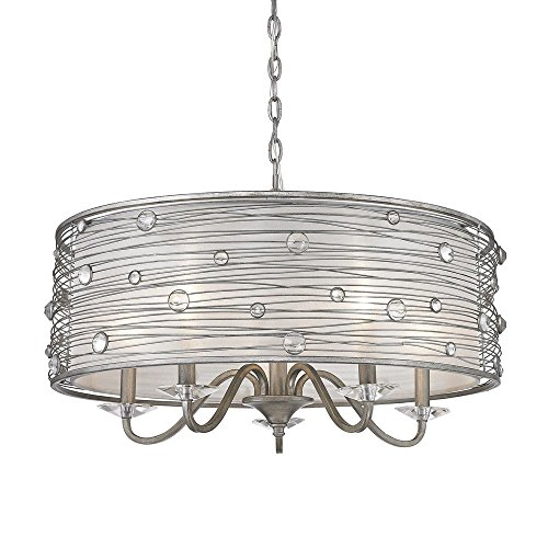 (Golden Lighting 1993-5 PS Chandelier with Sterling Mist Shades, Peruvian Silver Finish)