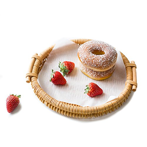 Woven Bread Roll Baskets Food Tabletop Serving Baskets Fruit Basket Bread Tray Rattan & Wicker Basket Tabletop Serving /Diplay/Storage/Picnic Baskets,Restaurant Serving,Willow Basket(Round)