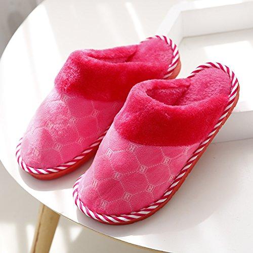 Fankou Autunno e Inverno moda pantofole di cotone femmina maschio spessa soggiorno caldo piano anti-slip piscina ,41-42, in rosso