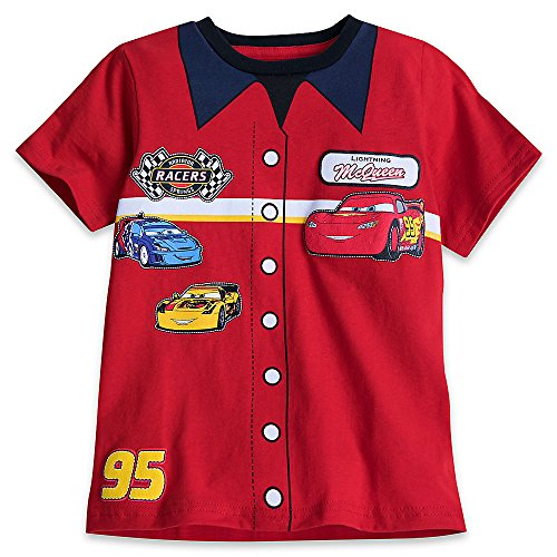 Disney Cars Mechanic's Shirt T-Shirt for Boys Size S (5/6) Red (Button Cars Mcqueen Lightning)