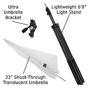 Fotodiox KIT-Umb-Bkt-Ultra-Ca Ultra Heavy Duty Flash Umbrella Bracket Kit with 1x Ultra Bracket, 1 x Light Stand, 1 x 33-Inch Shoot-Thru Umbrella Fits Canon Flash Speedlite