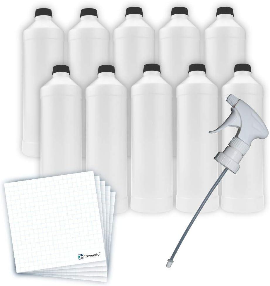 Trevendo 10x 1000ml Kunststoffflaschen HDPE Plastikflaschen mit Deckel und Spr/ühkopf Beschriftungsetiketten Rundflaschen inkl