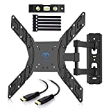 """PERLESMITH TV Wall Mount Full Motion Swivel for Most 23"""" - 55"""" LED, LCD, OLED, Plasma TVs up to VESA 400x400mm, 66lbs with HDMI Cable, Bubble Level, Cable Ties"""