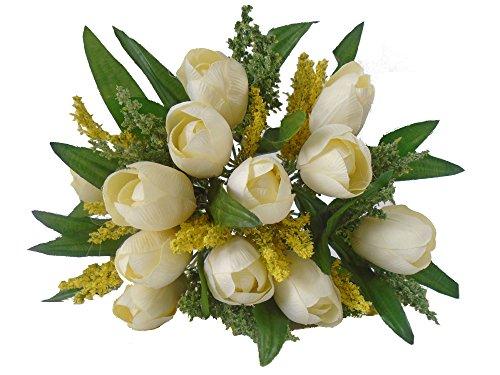 Flor artificial buque de tulipas com 12 flores, folhagens e complementos para arranjos e decoração (Branca)