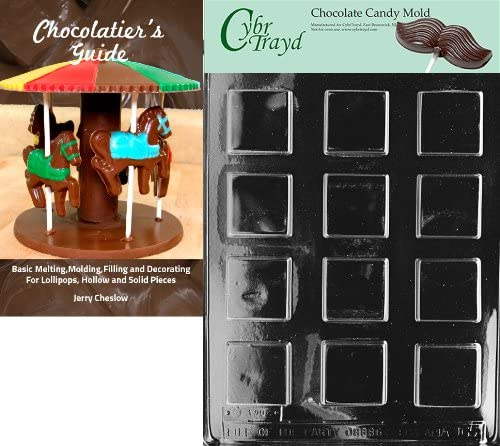 50 Twist Ties and Chocolatiers Guide Includes 50 Cello Bags Cybrtrayd Plain Square Mints All Occasions Chocolate Candy Mold with Chocolatiers Bundle