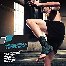 PowerLix Ankle Brace Compression Support Sleeve for Athletics, Injury Recovery, Joint Pain and more. Plantar Fasciitis Foot Socks with Arch Support, Eases Swelling, Heel Spurs, Achilles tendon
