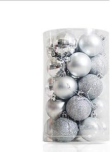 Terrug New 25PCS Christmas Ball Ornaments for Xmas Tree Decor Christmas Tree Decorations with Hanging Rope Champange