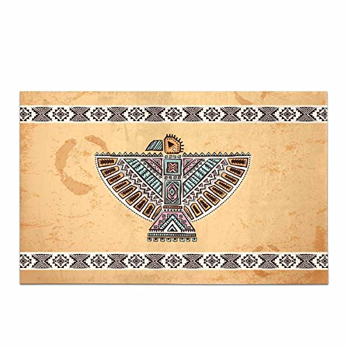 InterestPrint Tribal Native American Eagle Home Decor Non Slip Bath Rug Set Absorbent Floor Mats For