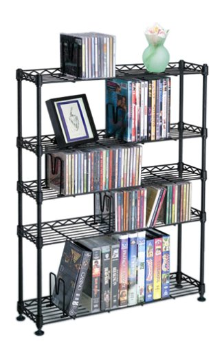 Atlantic Maxsteel 5 Tier Shelving - Heavy Gauge Steel Wire Shelving for 275 CD/152 DVD/BluRay/Games Media in Black