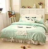 DIAIDI Home Textile,Cute Cat Bedding Set,Girls Polka Dot Bedding Set Queen Twin