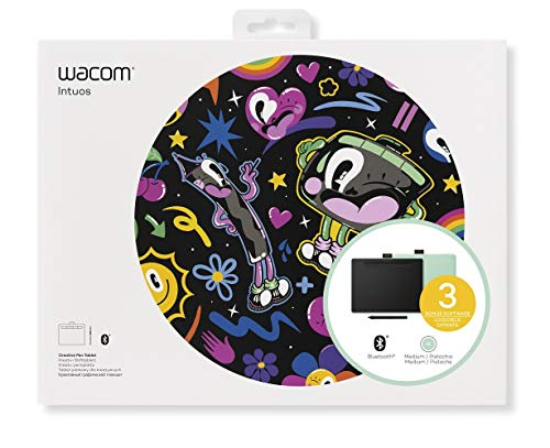 Wacom Intuos Wireless Graphic Tablet with 3 Bonus Software Included, 10.4 x 7.8, Black with Pistachio Accent (CTL6100WLE0)