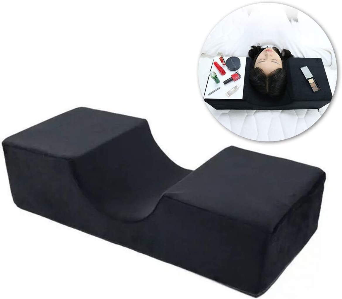 great-fyl Extensión de pestañas Almohada Memoria Espuma Forma de U Profesional Salón de Belleza Soporte de Cuello de Almohada para extensión de pestañas Negro 50 * 20 * 12 cm