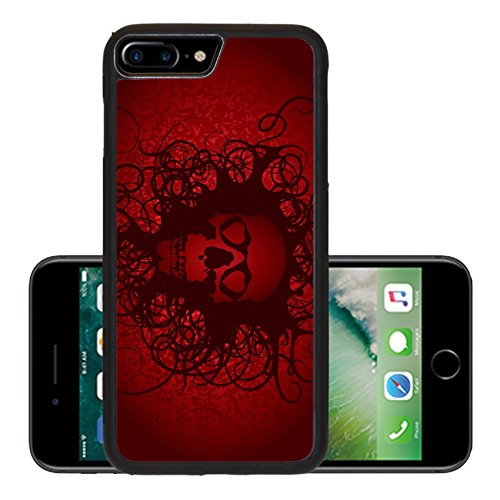 Liili Premium Apple iPhone 7 Plus Aluminum Backplate Bumper Snap Case Skull love heart abstract red dark 29647332