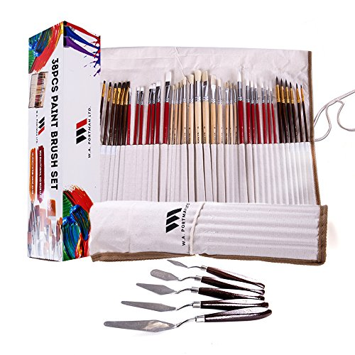Paint Brush & Pallet Knife Set – 38 Piece Set of Professional Quality Synthetic and Natural Hair Brushes & 5 Artist Pallet Knives Perfect for Acrylic Watercolor & Oil Painting, Includes Canvas Case
