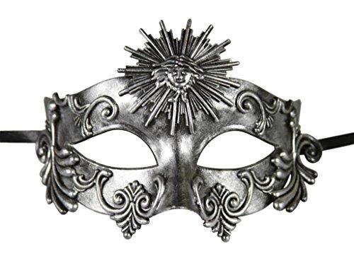 [KAYSO INC Roman Gladiator Men's Venetian Masquerade Mask, Rustic Silver] (Cheap Roman Costumes)