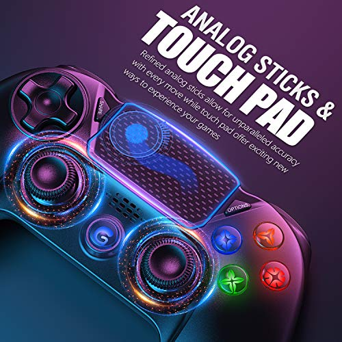 Gamory Wireless Controller for PS4, Controllers Gamepad Joystick Gamepad for PlayStation 4/PS4 Slim/Pro/PS3, Touch Panel Controller with Six-axis Dual Vibration Shock and Audio