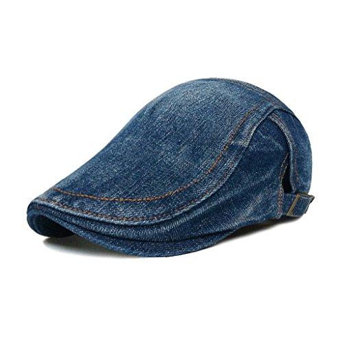 LETHMIK Denim Flat Cap newsboy IVY Irish Hats Jean Cabbie Scally Cap duckbill Hat Plain Dark - Denim Cap Ivy
