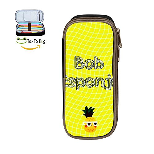 The Magic Custom Bob Esponja Pencil Case - Big Capacity Double Zipper Multifunctional Black Stationery Bag for Children