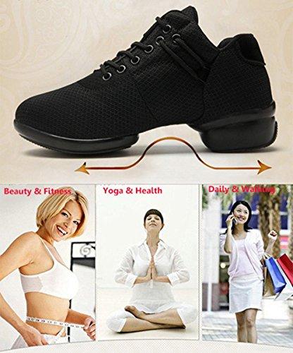 Rojo Danza Suela Deportivos Rosado Jazz Lace de Kotzeb Blanco para Blanda Negro up Zapatos Elegante Mujeres Baile 41 Negro Zapatillas 35 1qvFxwIa