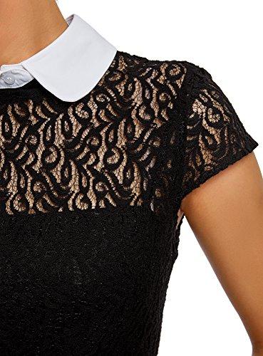 Mujer Cuello de Encaje Negro en Contraste oodji Ultra 2910b con Vestido 51FFBn