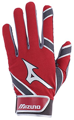 Mizuno MVP Youth Kid's Baseball Batting Gloves, Medium, Red