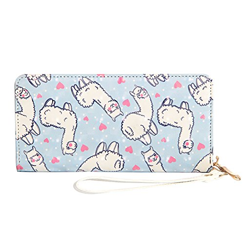 Kukoo Girls Alpaca Long Wallet Cactus Wristlet Clutch Purse Zipper Card Holder