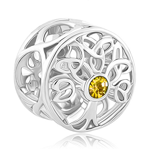 CoolJewelry Sterling Silver Family Tree Of life October B...