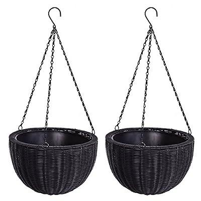 """2 pcs of Hanging Planters Round Garden Plant Decor Pots 13.8"""" PE Rattan Black"""