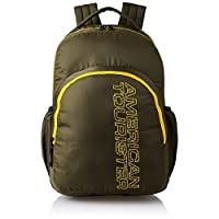 American Tourister 27 Ltrs Olive Casual Backpack (AMT Stratos BP-02 Olive/Yellow)