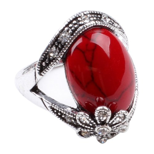 (Ca Flower Style Red Synthetic-Turquoise Fashion Women's Ring Jewelry (8))