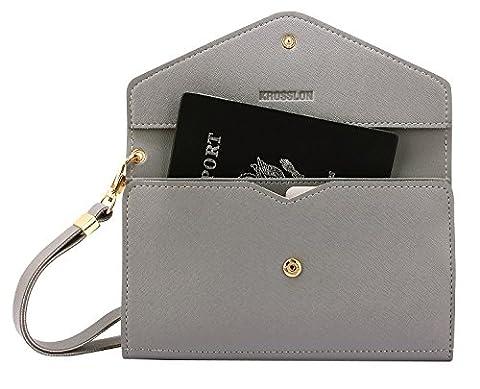Krosslon Rfid Travel Passport Wallet Holder Tri-fold Document Wristlet Organiser Bag, Quartz Grey (Phone Quartz)