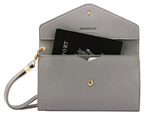 Krosslon Rfid Travel Passport Wallet Holder Tri-fold Document Wristlet Organiser Bag (6# Quartz Grey) (Document Travel)