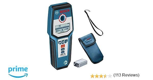Bosch Professional GMS 120 Detector de pared, detección en madera/metal magnético/metal no magnético/cables con tensión: 38/120/80/50 mm, en caja