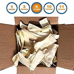123 Treats – Rawhide Chips for Dogs (6 Pounds) Quality Bulk Dog Chews – No Additives, Chemicals or Hormones from Natural Grass Fed Livestock