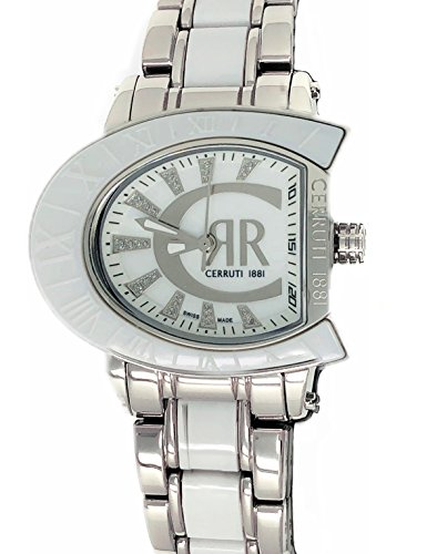Cerruti 1881 Ladies Logo Watch Two Tone Silver with White Ceramic Bracelet Diamond CRWO013A211U